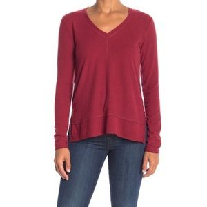 H by Bordeaux V Neck Long Sleeve Top